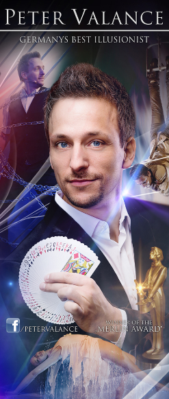 Plakat Peter Valance, Zauberer Berlin, Magier, Illusionist